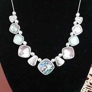 Napier Silver Tone Stone Frontal Necklace